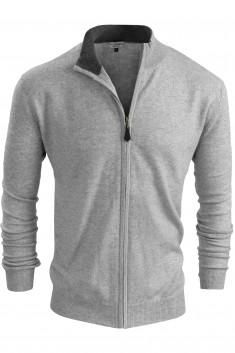 Gilet zippé cachemire bicolore gris/gris foncé
