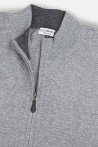 Cardigan zippé cachemire bicolore gris/gris foncé