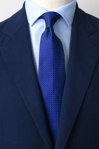Navy blue diamond printed silk tie