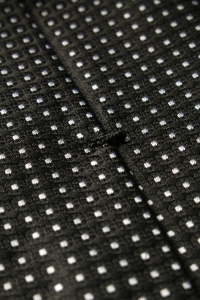 Black small spots printed silk tie