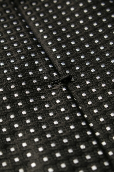 Black small spots printed silk tie