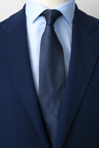 Cravate en soie bleue à carreaux cuivre