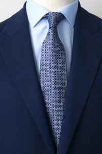 Blue silk tie with silver squares