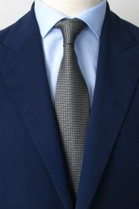 Cravate en soie noire à cercles blancs