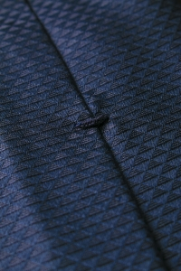 Navy blue triangle silk tie