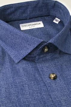 Brooklyn - Chemise casual flanelle bleue imprimée