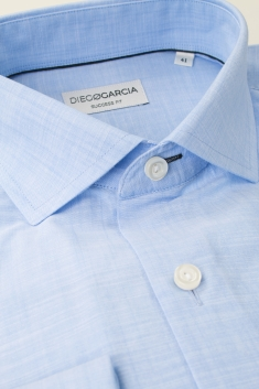 Chemise habillée Melbourne chambray ciel à coupe droite