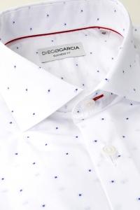 Gigaro - White classic small squared muslin shirt
