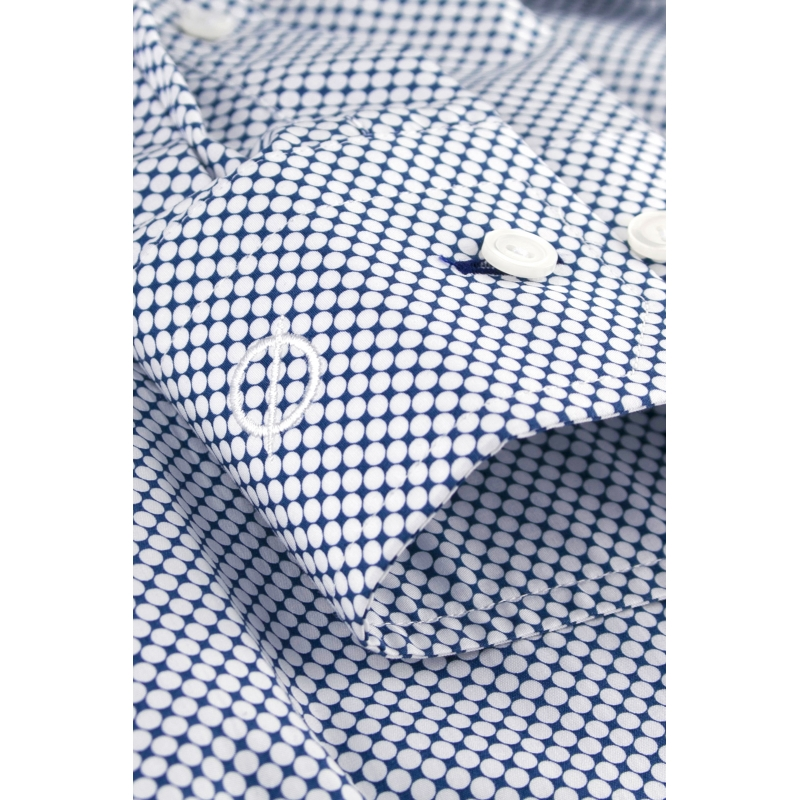 chemise bleu marine pois blancs slim fit chemise homme. Black Bedroom Furniture Sets. Home Design Ideas
