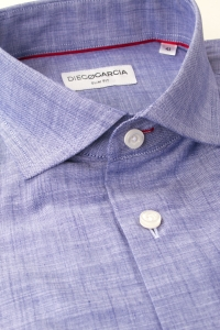 Scala - Chemise classique chambray lilas / Slim