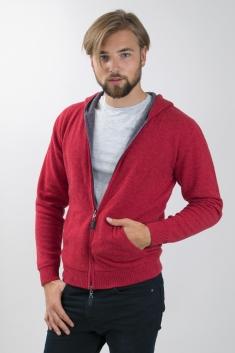 Poppy/moka reversible cashmere hoody