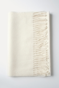 Écharpe classique écru à franges 100% cachemire