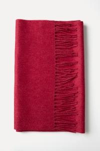 Écharpe classique coquelicot à franges 100% cachemire