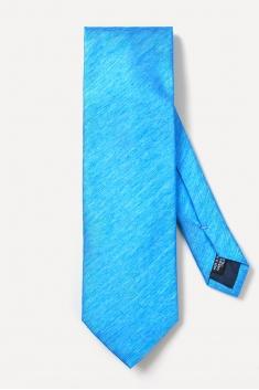 Lagoon blue woven silk tie
