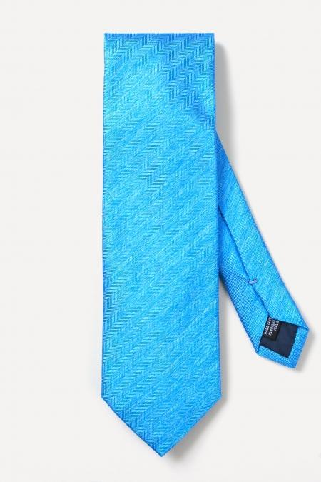 Cravate tissée en soie bleu lagon