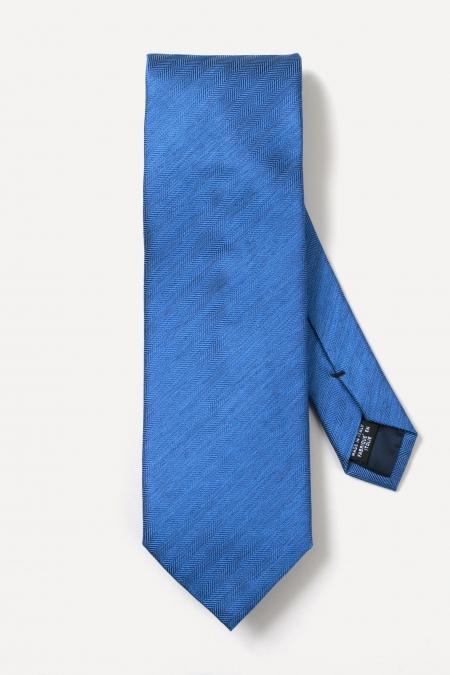 Cravate tissée en soie bleu marine