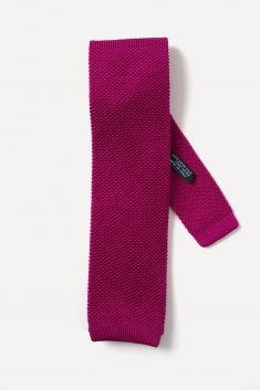 Plum knitted silk tie