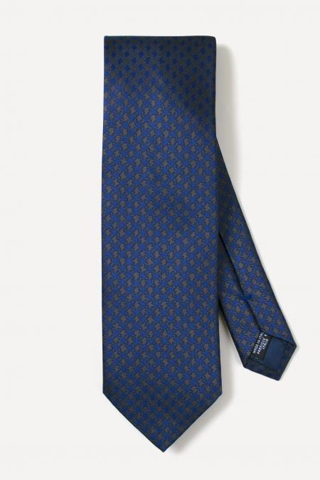Cravate en soie bicolore à motifs pied-de-poule