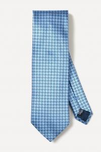 Sky blue abstract printed silk tie