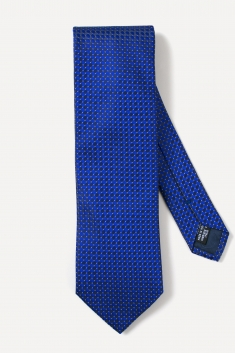 Navy blue diamond printed silk tie