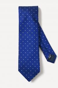 Cravate en soie bleu indigo à pois blancs