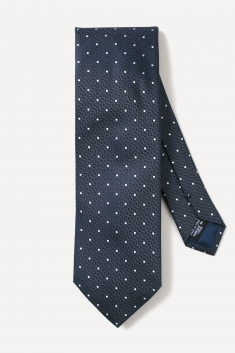 Grey white spotted silk tie