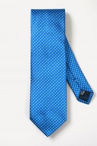 Cravate en soie bleu méditerranée à pois blancs