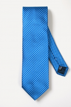 Blue spotted silk tie