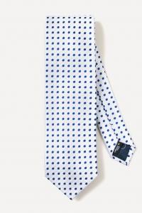 White large blue spots silk tie