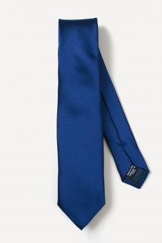 Cravate fine en soie bleue