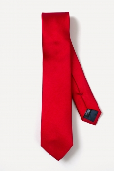 Red thin silk tie
