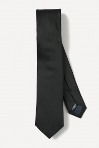 Black thin silk tie