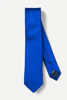 Indigo blue thin silk tie