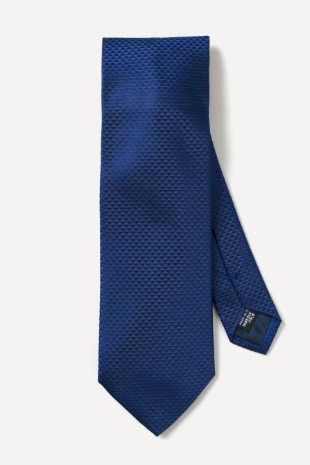 Indigo blue triangle prints silk tie