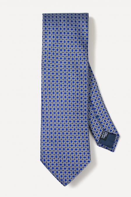 Cravate en soie bleue à carrés argents