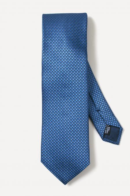 Cravate en soie à pois bleu ciel
