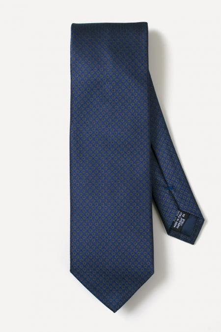 Cravate en soie à damier bleu/cuivre