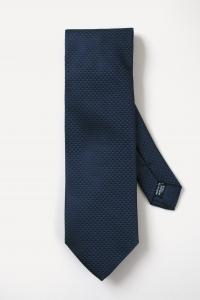 Cravate en soie bleu marine à triangles ton sur ton