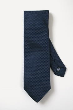 Navy blue triangle prints silk tie