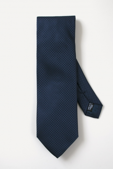Navy blue triangle tone-on-tone prints silk tie