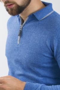 Polo cachemire bicolore bleu méditerranée/gris