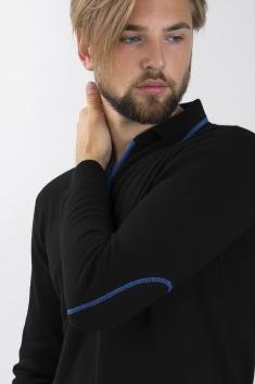 Polo cachemire bicolore noir/bleu