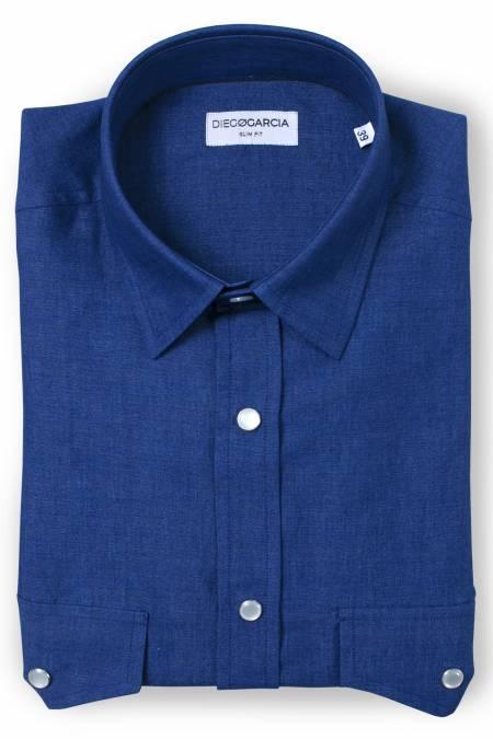 Dallas denim blue casual shirt / Extra Long