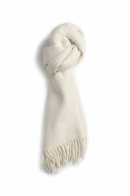 Classic ecru fringed cashmere scarf