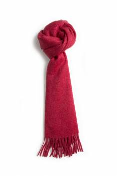 Red fringed cashmere scarf
