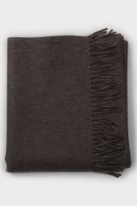 Fringed light wood cashmere stole
