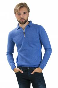 Polo cachemire bicolore bleu/gris
