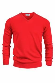 Pull V cachemire rouge