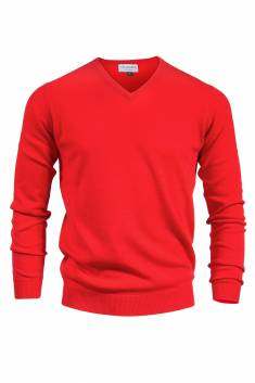 Pull rouge col v 100% cachemire