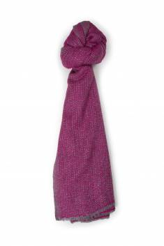Large raspberry / gray cashmere blend scarf